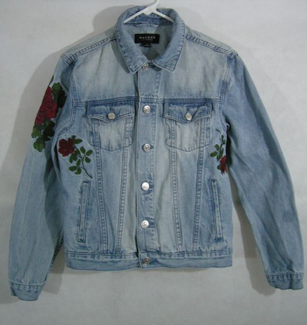 Denim Jacket Womens Small Embroidered Red Roses Distressed Pockets