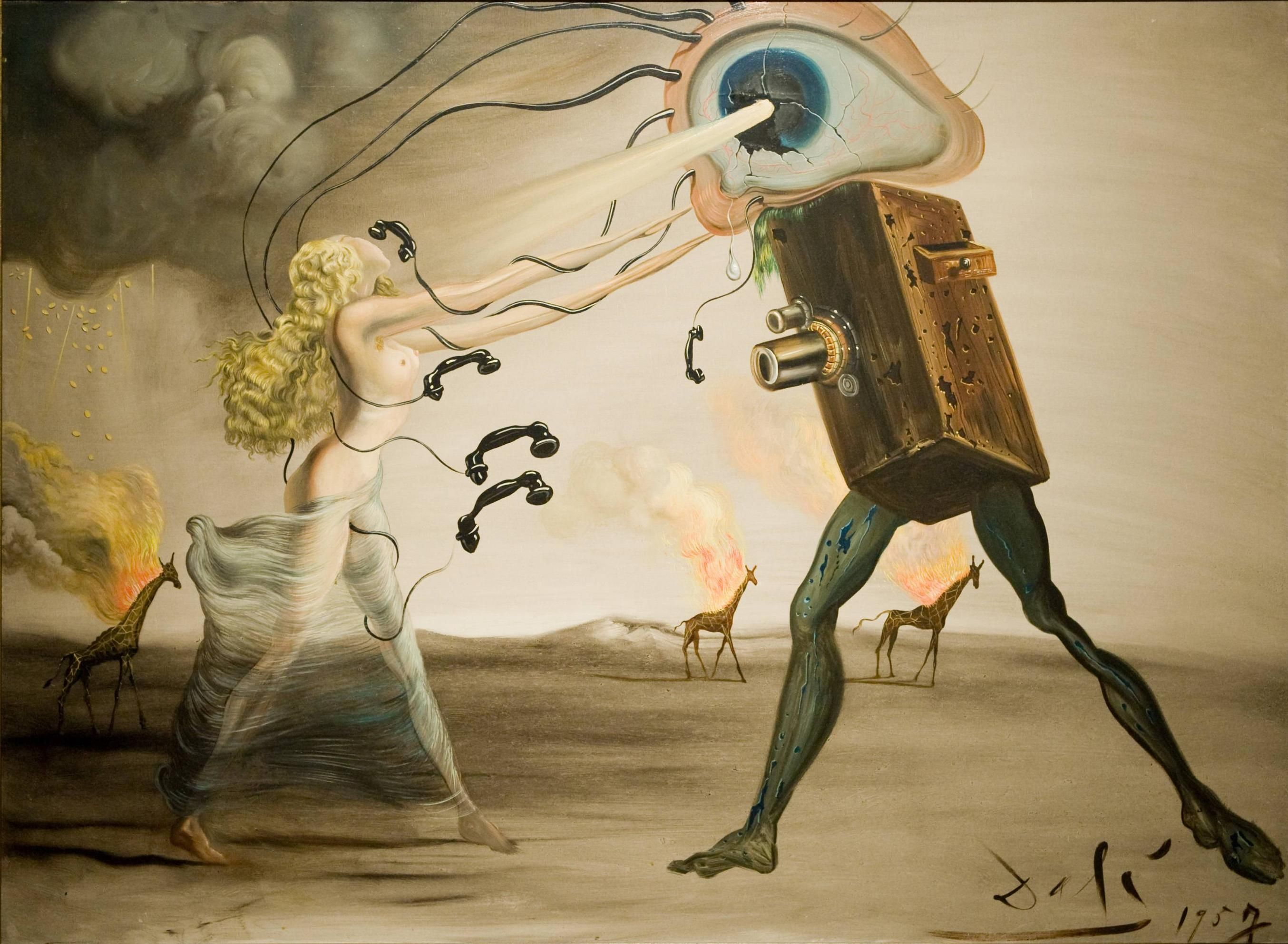 Surrealist painting by salvador dali burning giraffes and telephones