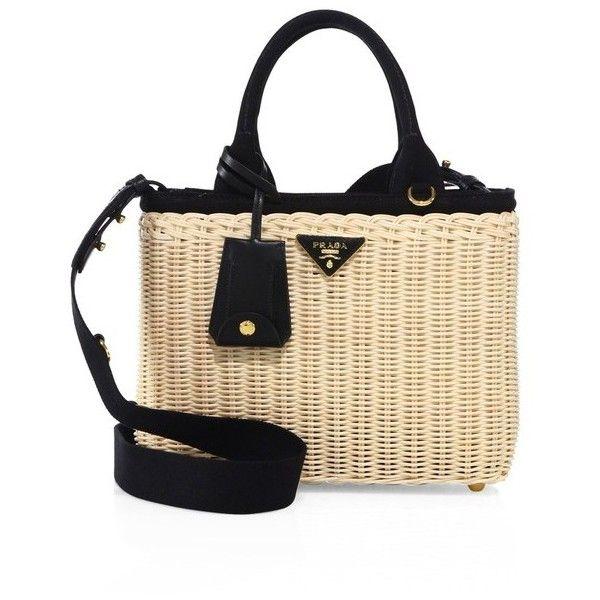 Canvas and wicker woven bag Prada SQXyDD