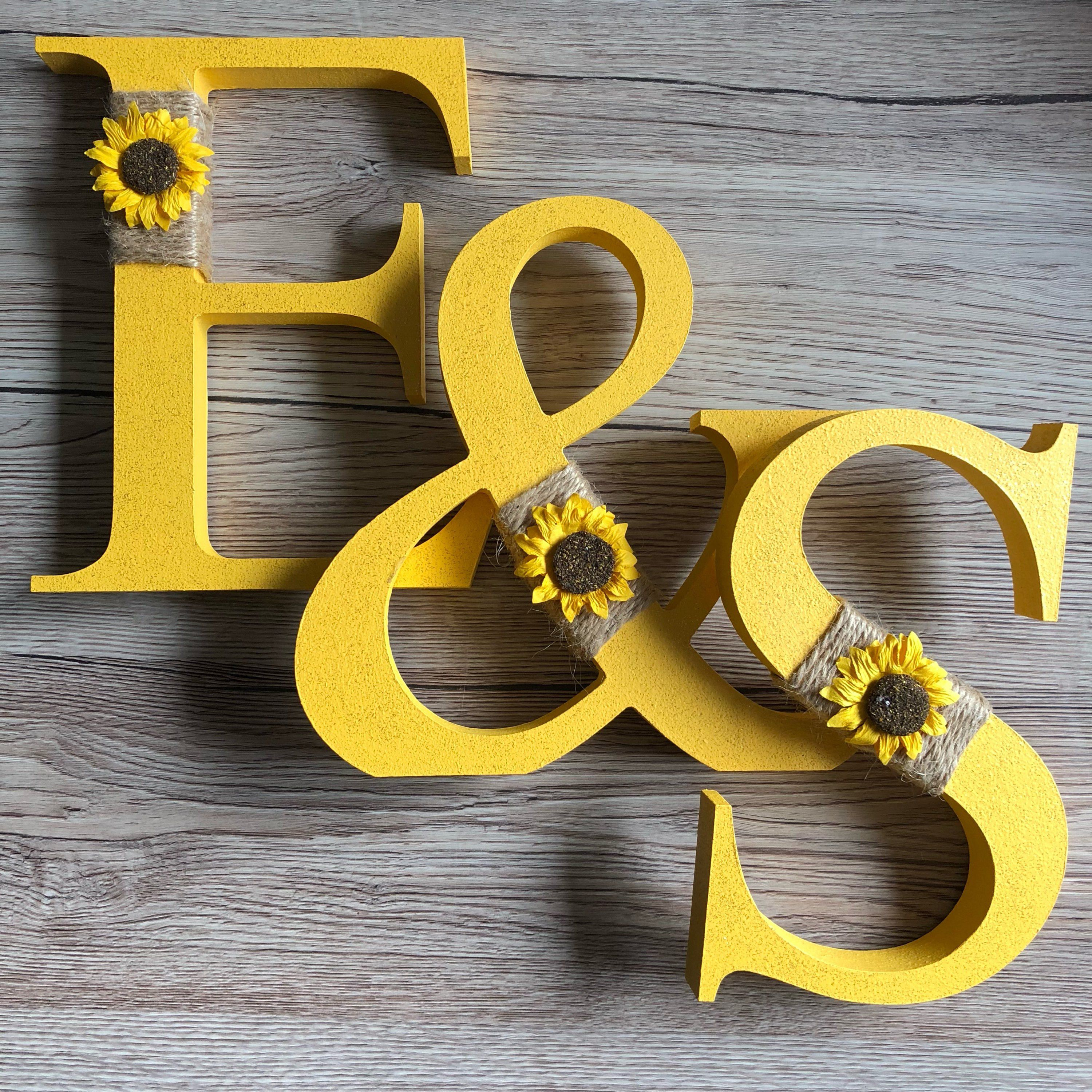 Decorated Sunflower Themed Freestanding Wooden Letter Painting Wooden Letters Freestanding