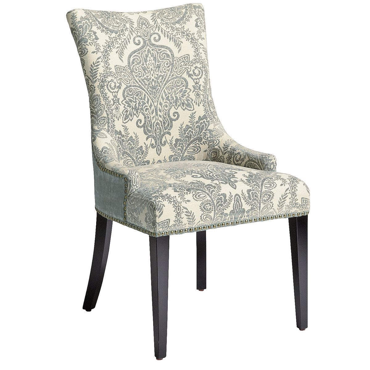 Adelle Smoke Blue Dining Chair With Espresso Wood Dining