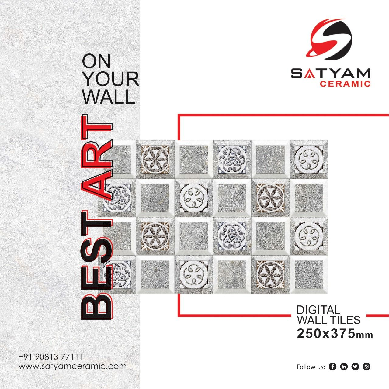 On Your Wall Best Art Digital Wall Tiles 250x375 Mm Satyamceramic Digitalwalltiles Walltiles Til Ceramic Wall Art Ceramic Art Wall Tiles