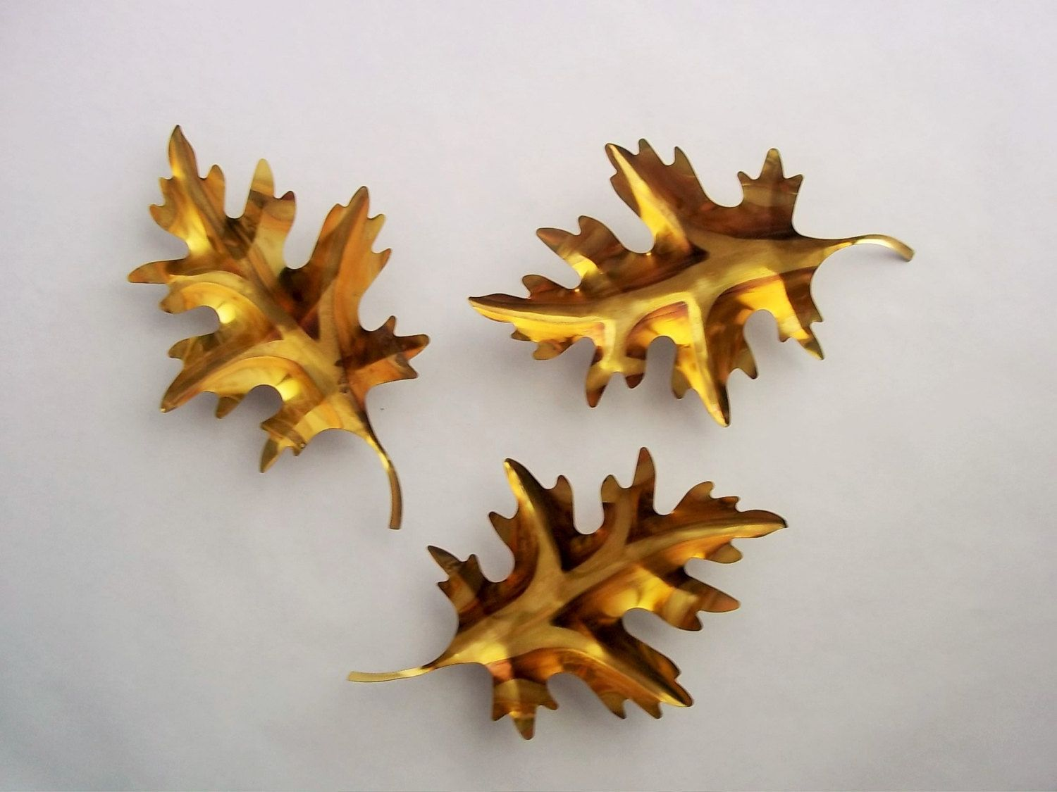 57ed8be53a Brass Leaves Wall Hanging, Set of (3) Three Gold Metal Leaves, Vintage Wall…