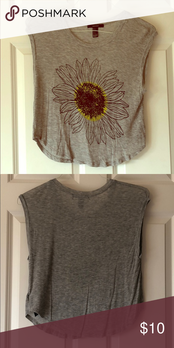 cef49b01e2cb0 Forever 21 Sunflower Shirt Pretty Forever 21 sunflower top! Used but in  good condition Forever 21 Tops
