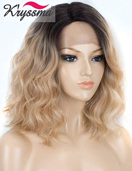 K ryssma Short Lace Front Blonde Wig with Dark Roots Half Hand Tied L Part  Shoulder Length Wig Bob wavy Hair for Women Glueless Heat Resistant Ombre  Lace ... d1d29ab471