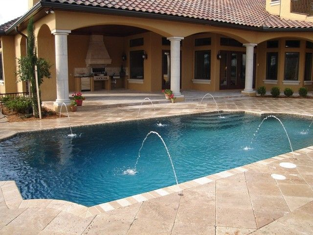 Outside bbq tampa stone pavers concrete travertine for Pool design tampa
