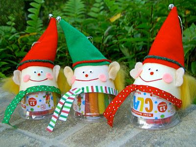 """""""E"""" is for Elves  Christmas classroom goodie bags:  elf ornament packaging with mini modeling clay inside"""