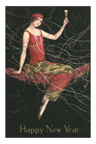 Happy New Year Flapper With Champagne Photo Allposters Com Vintage Happy New Year Happy New Year Cards New Year Art