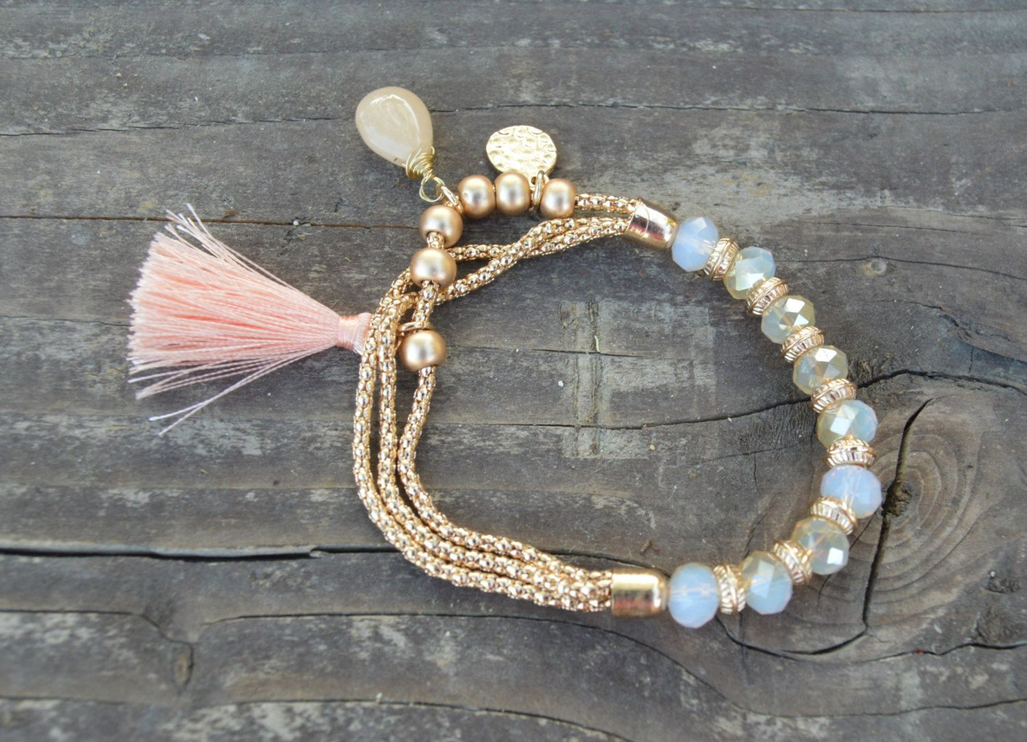 Gold Chain and Crystal Beads Elastic Bracelet with Tassel and Charms ...