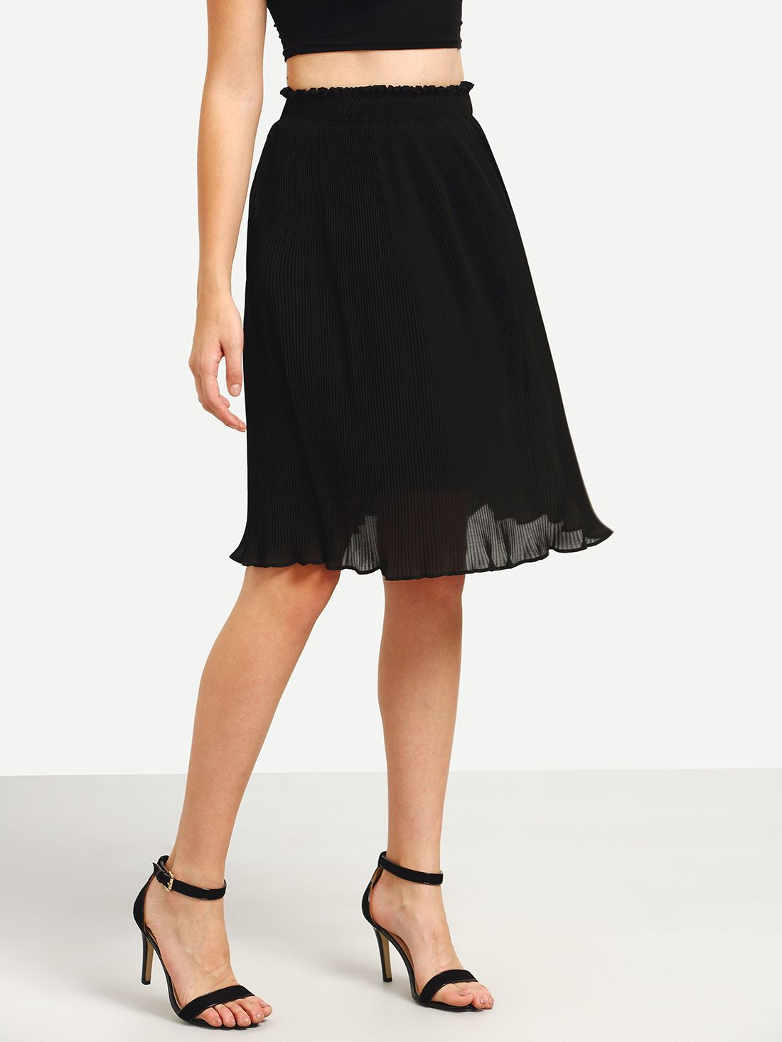 Ruffled Pleated Midi Skirt - Black | Shops, Skirts and Midi skirts