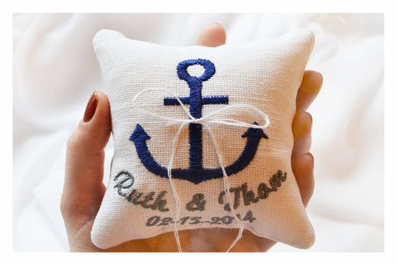 Nautical Embroidered Wedding Ring Pillow Anchor Personalized Bearer