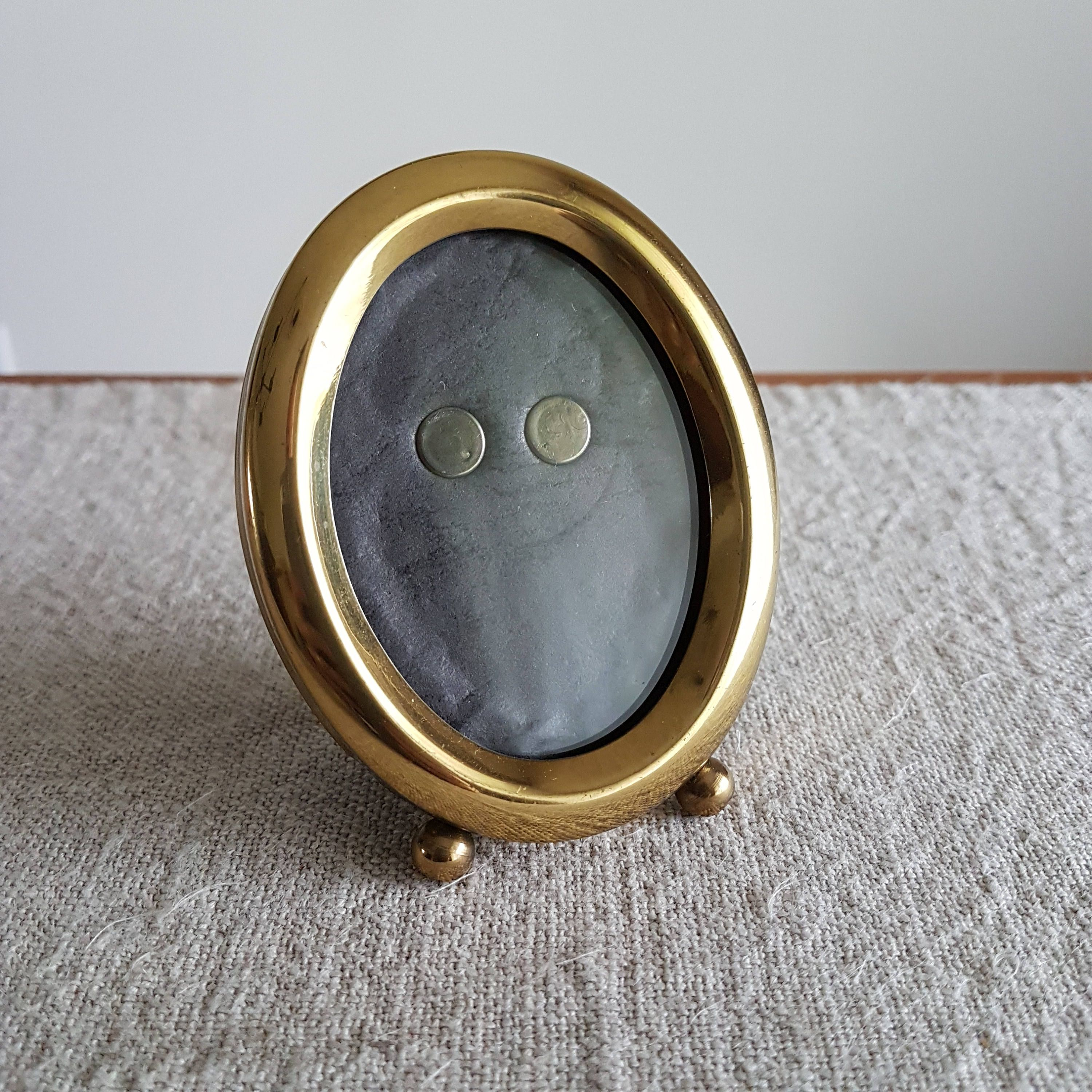 2 x 3 solid brass oval picture frame with ball feet gold x solid brass oval picture frame with ball feet gold metal photo frame wallet size photos boho or modern decor mini frame cm by bluechickenvintage on jeuxipadfo Image collections