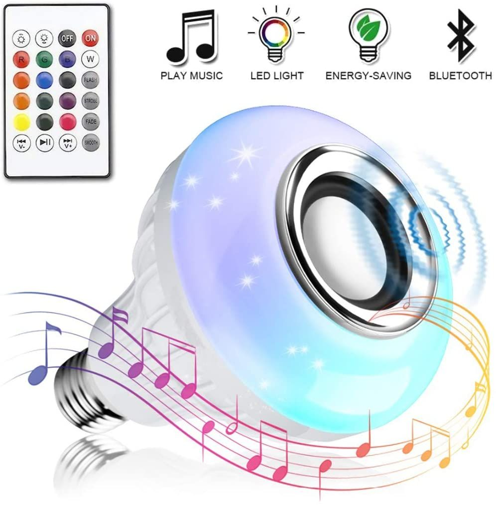 Bombilla Led Inteligente Vagalbox Foco Rgb E27 Altavoz Bluetooth Inalambrico Color Regulable Luz Colorida Control En 2020 Bombillas Led Control Remoto Altavoces