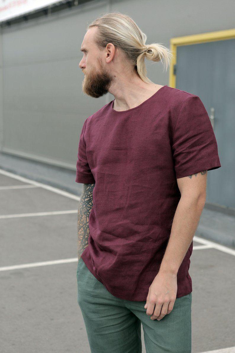 Men S Linen T Shirt Mens Shirts Linen Tshirts Organic Clothing