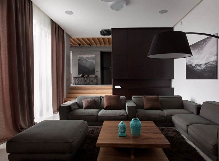 Salon noir et blanc et salon gris en 50 photos remarquables - wohnzimmer braun grau