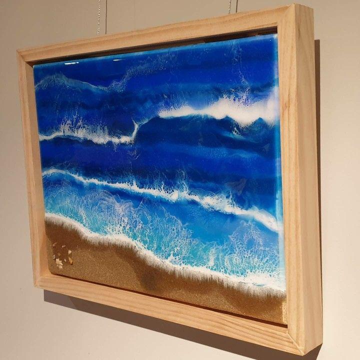 Beach resin art 002 30 x 40 with pine floating frame. Sand and shells from local #resinart #resin #handmade #art #resinartist #epoxyresin #resinartwork #epoxy #epoxyart #fluidart #homedecor #abstractart #resincrafts #resinpour #beachart #seasideart