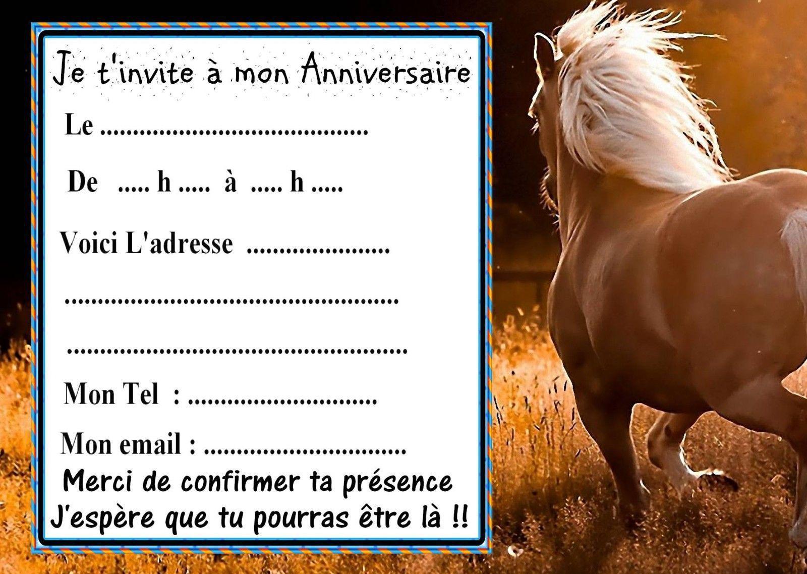 Carte d'invitation anniversaire gratuite a imprimer avec des chevaux
