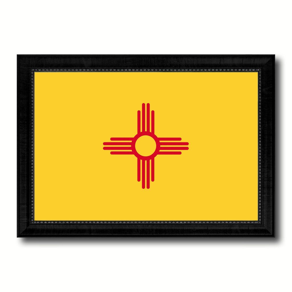 New Mexico State Flag Canvas Print with Custom Black Picture Frame ...