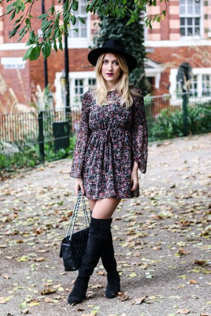 Blogger Style l The London Thing: floral dress x overknee ...