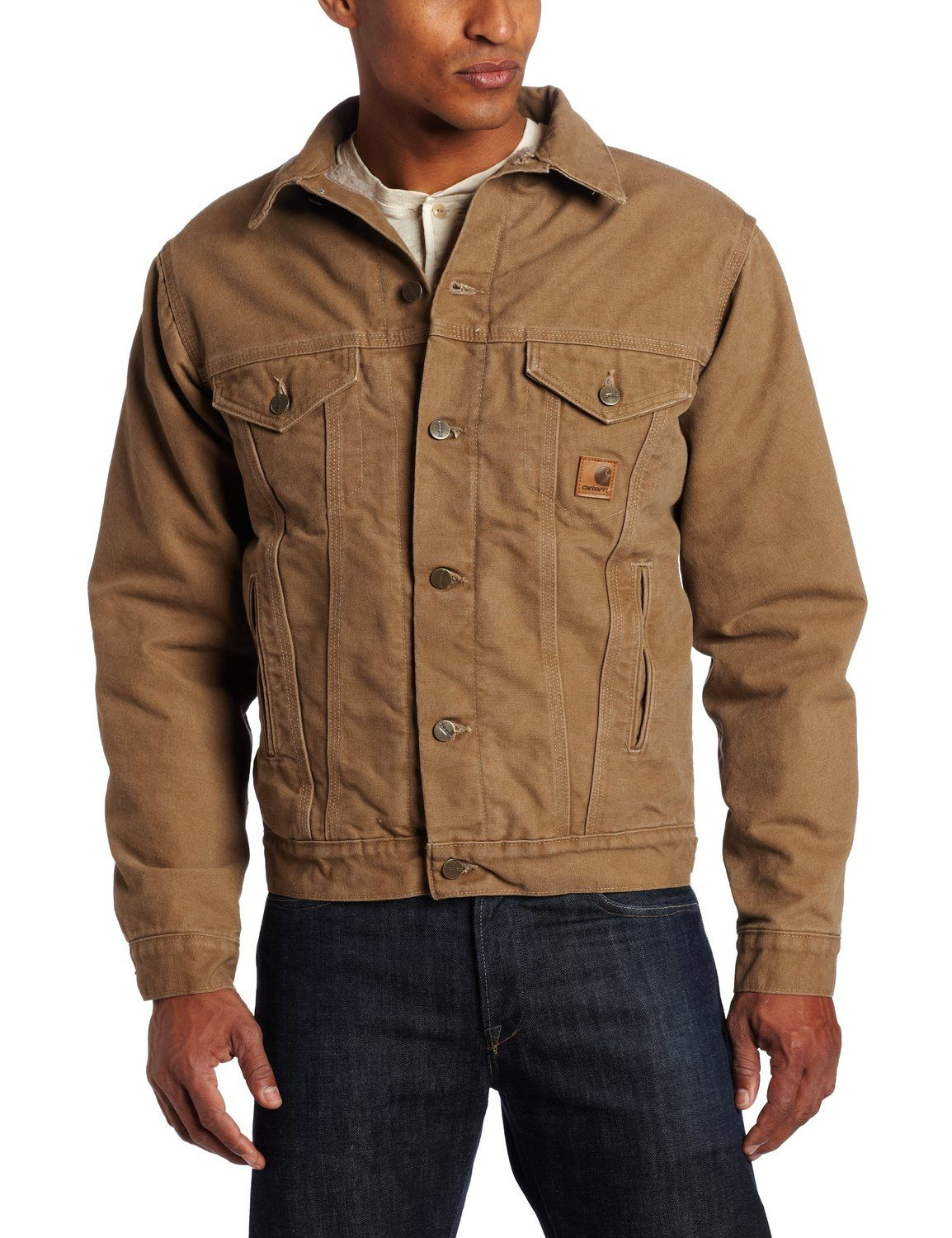 f4d052766d3 Amazon.com  Carhartt Men s Big-Tall Sandstone Duck Jean Jacket with Sherpa  Lining  Denim Jackets  Clothing