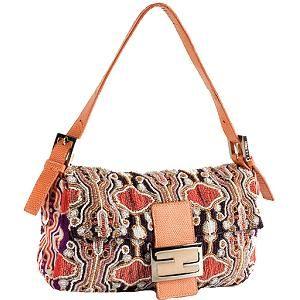 de8b323ea70c Fendi Beaded Lizard Trim Baguette Shoulder Handbag