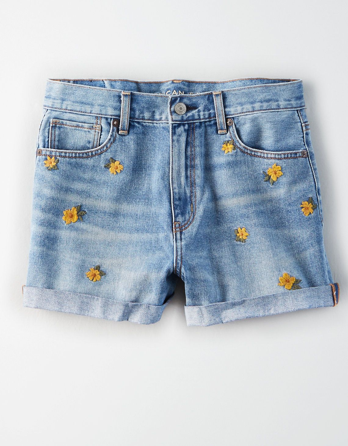 a725691431 Embroidered Floral Denim Mom Short, Floral | American Eagle Outfitters