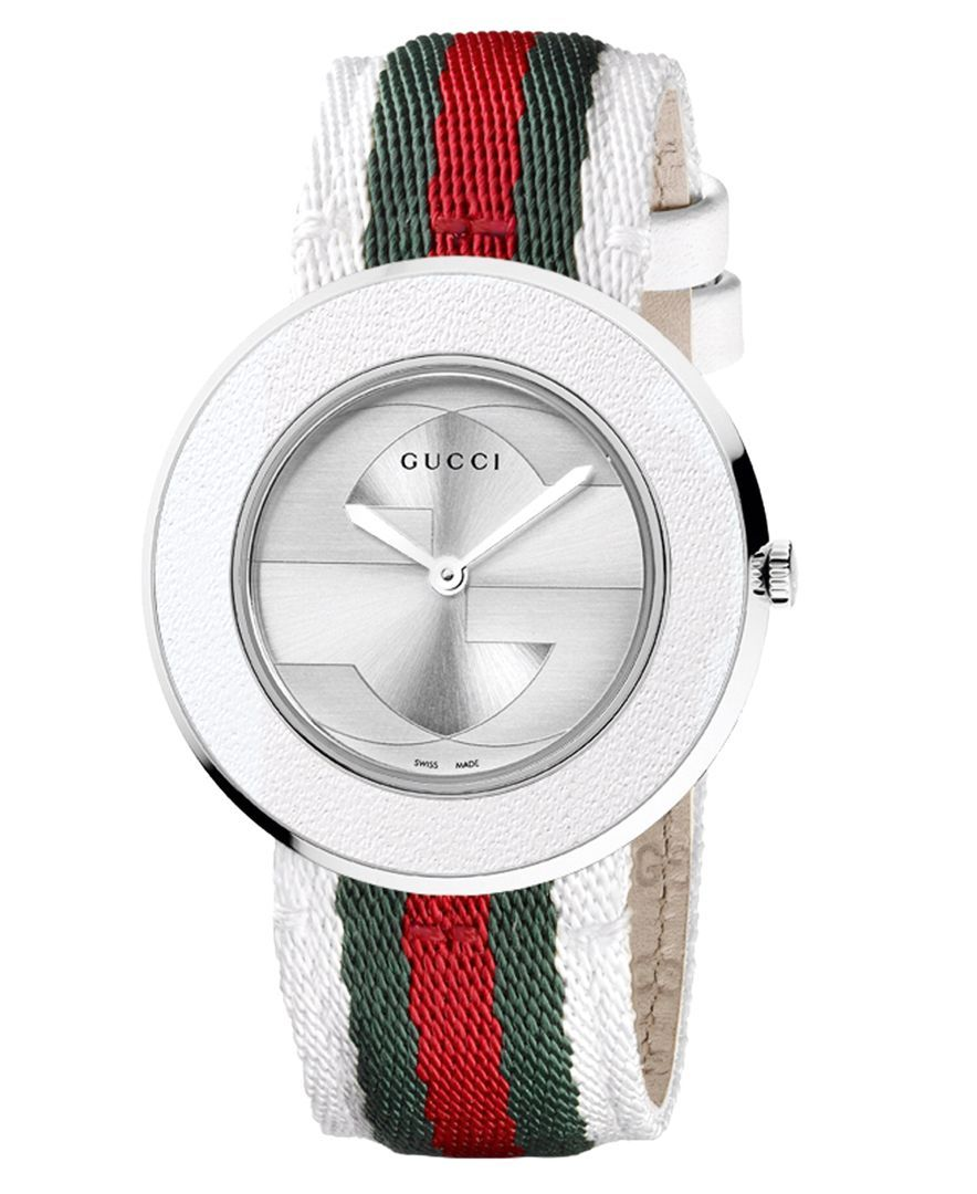80204fbf964 Women s U-Play Silver Guccisima Leather Watch Strap and Bezel 35mm ...