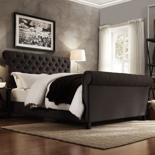 black upholstered sleigh bed. Weston Home Ellesmere Tufted Upholstered Sleigh Bed Black X