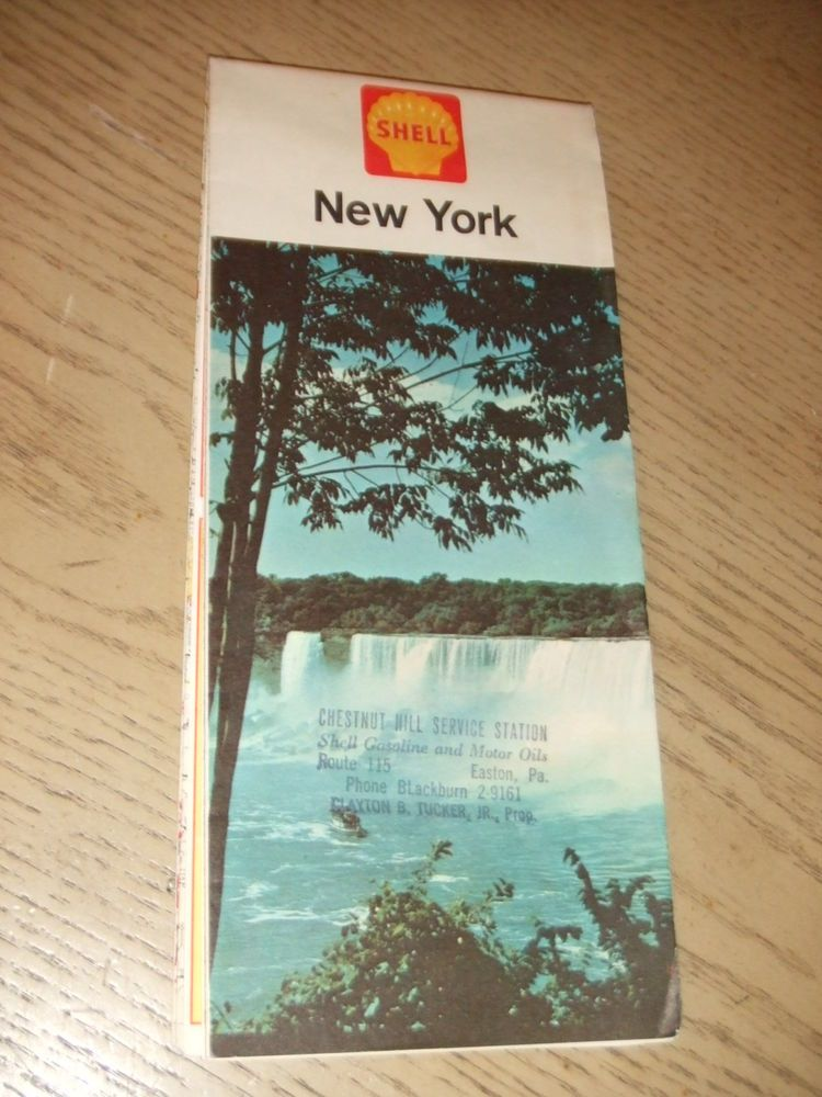 PaincorpsRareFinds VINTAGE 1962 Shell Oil Gas New York State Highway Road Map STAMP Easton PA NYC Plz Retweet Ebay
