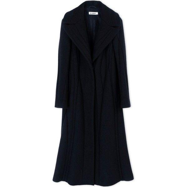 Jil Sander Coat (12.315 BRL) ❤ liked on Polyvore featuring outerwear, coats, black, jil sander, lapel coat, woolen coat, long sleeve coat and black coat