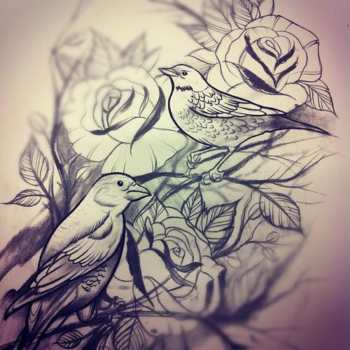 Rose And Bird Tattoo Would Look Awesome As Black And Grey Or Bright Colors Picture Tattoos Tattoos Evil Tattoo