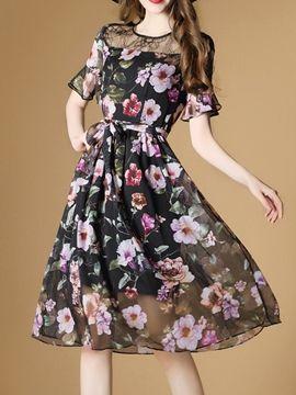 Ericdress Floral Print Ruffle Sleeve See-Through Casual Dress  27b802b5e68