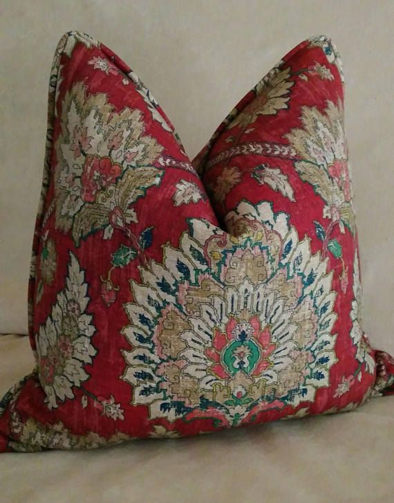 Sharon Cuscini.Red Floral Euro Sham Pillow Cover Jacobean Floral Brick Red 24x24