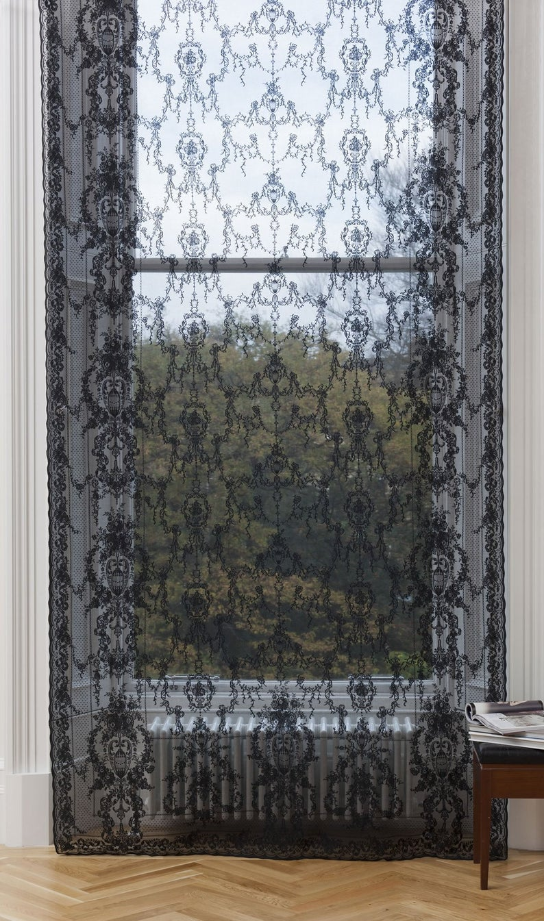 Dramatic Black Or Gold Lace Window Curtain Sheer Panel Classic
