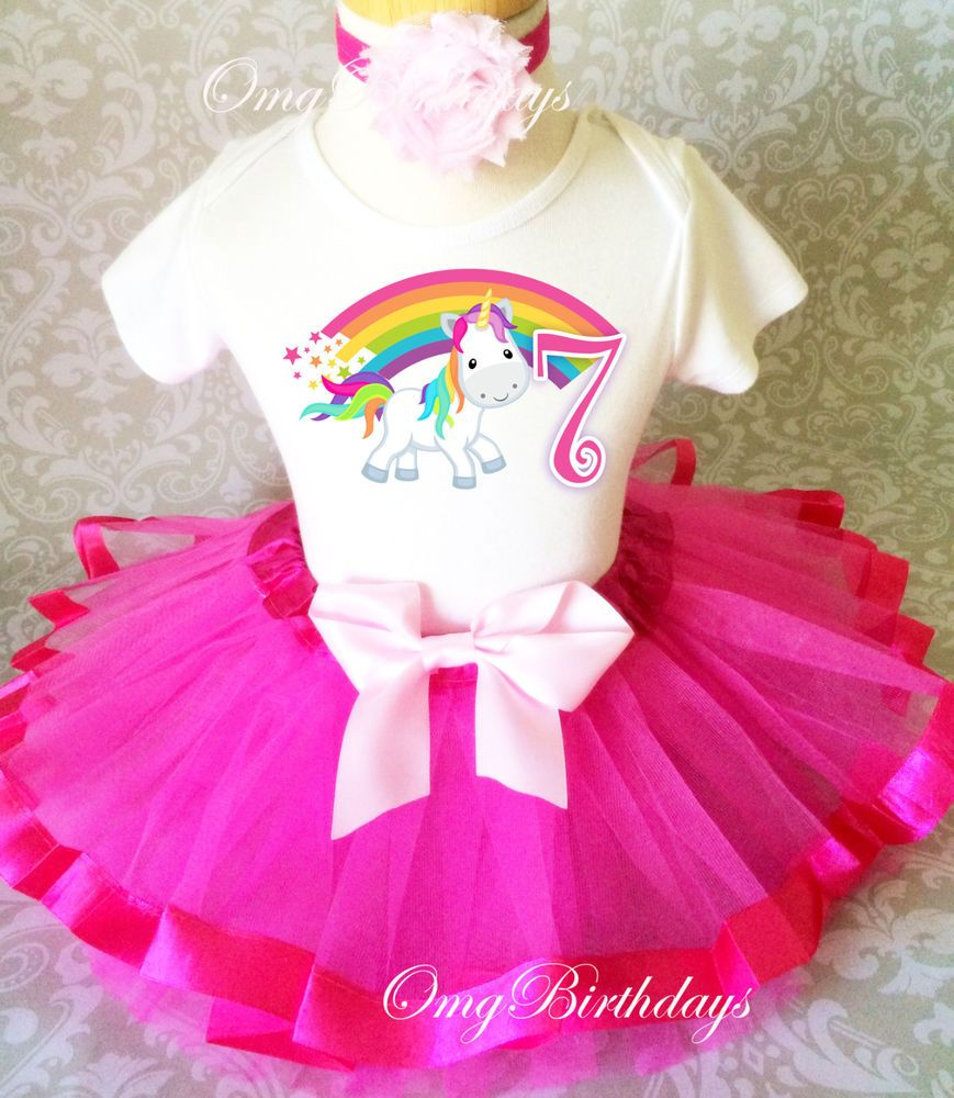 Cute Unicorn Horse Pony Pink Girl 7th Birthday Tutu Shirt Outfit Set ...