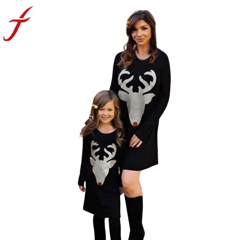 516e5646955f1 Christmas Dress Mom & Me Girls Women Dress Deer Printed Long Sleeve Dress