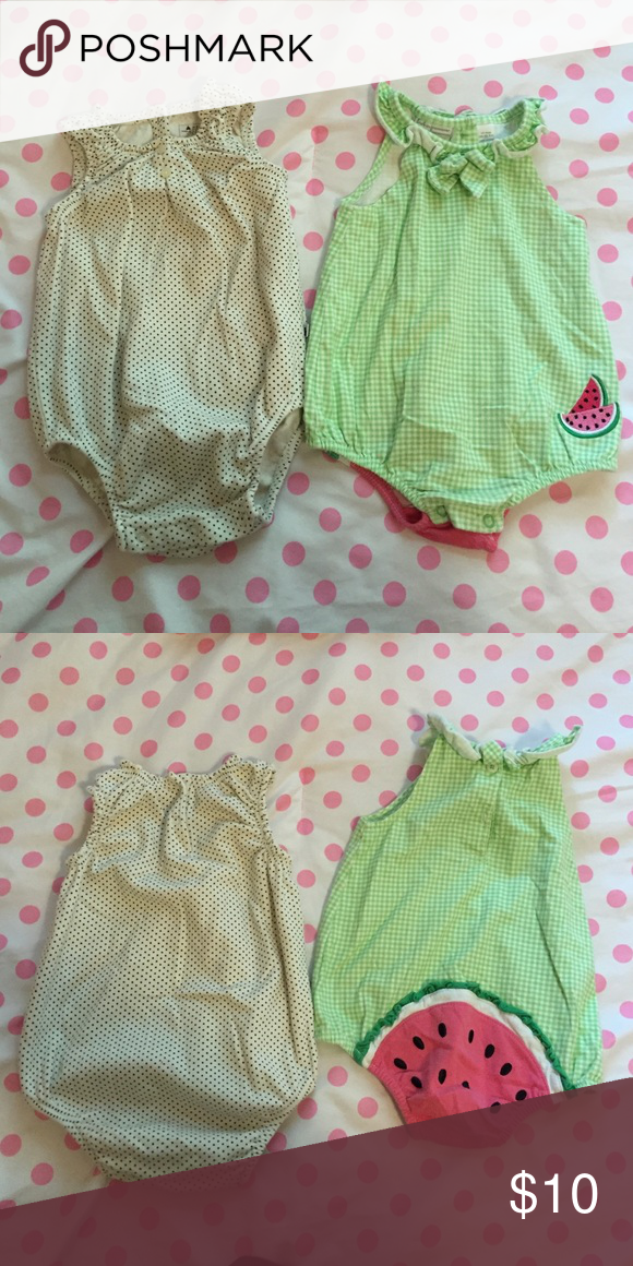 Bundle of 2 Baby Girl Bubble Rompers Cream/Navy Polka Dot -- Baby Gap, size 6-12 months; Green Gingham -- First Impressions, size 12 months. One tiny milk stain on the neck of the cream one, but barely noticeable. GAP One Pieces Bodysuits