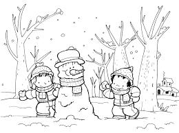 dibujo para colorear del invierno | INVIERNO : MUÑECOS DE NIEVE Y