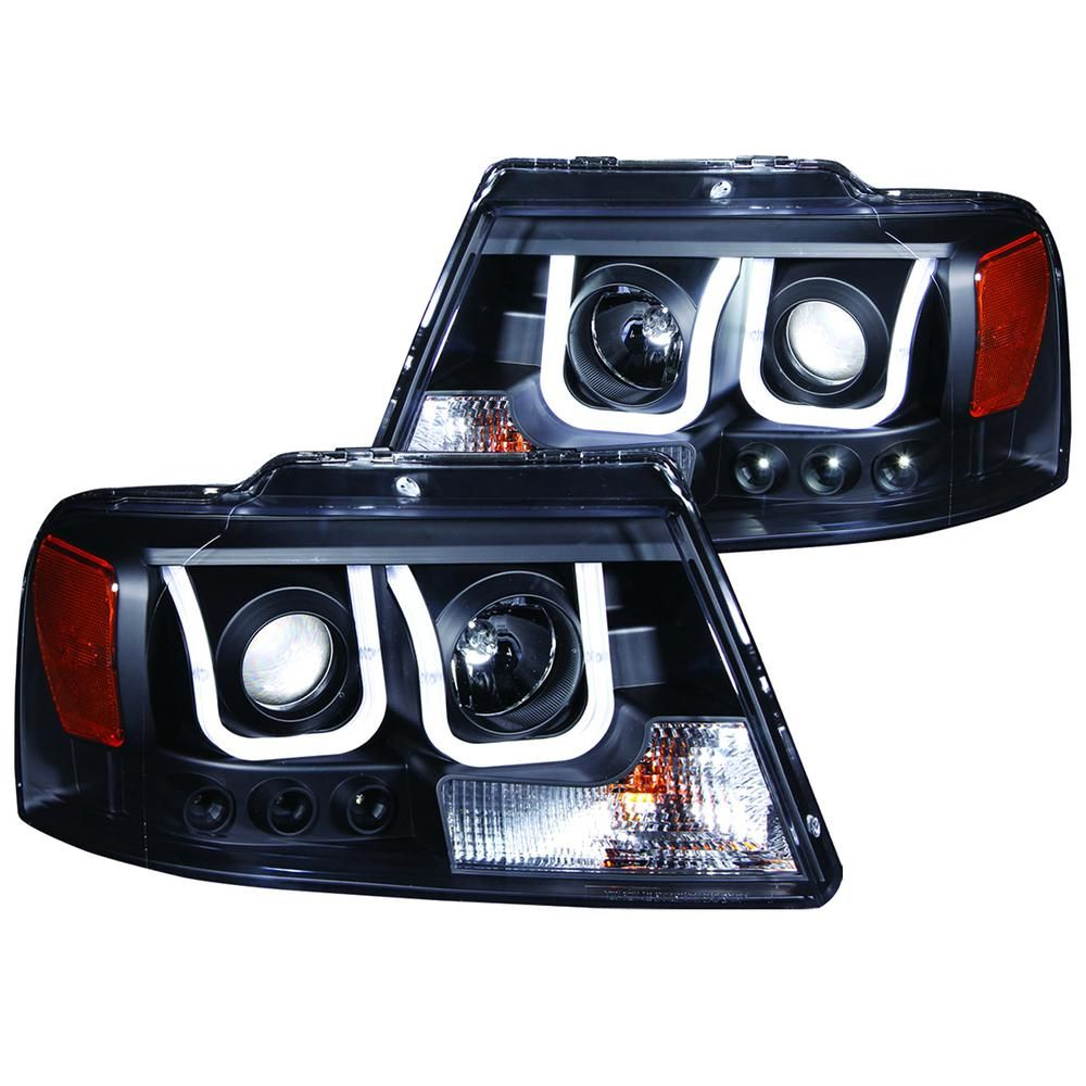 anzo usa 2004 2008 ford f 150 projector headlights w u bar black [ 1000 x 1000 Pixel ]