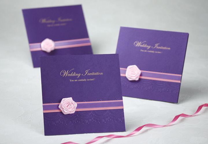 Aliexpress Com Buy Hot Sale Purple Wedding Invitation Card With Pink Flower Weste Purple Wedding Invitations Wedding Invitations Online Simple Wedding Cards