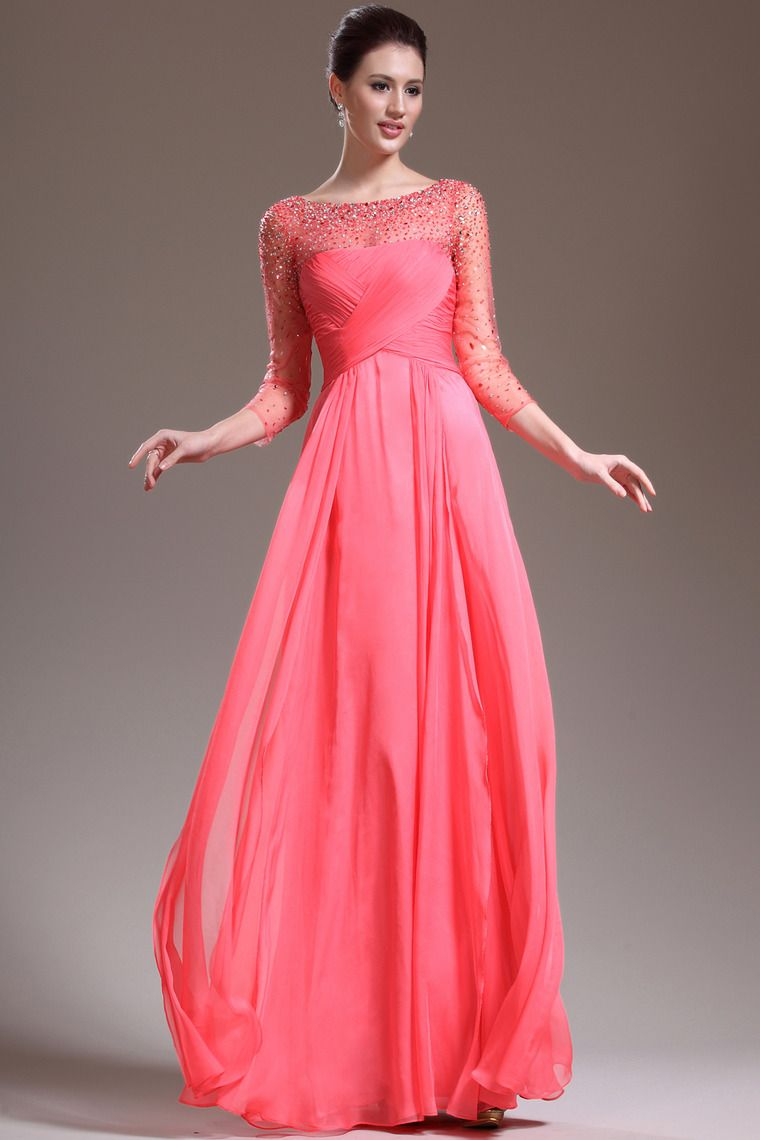New arrival length sleeve a line floor length prom dresses