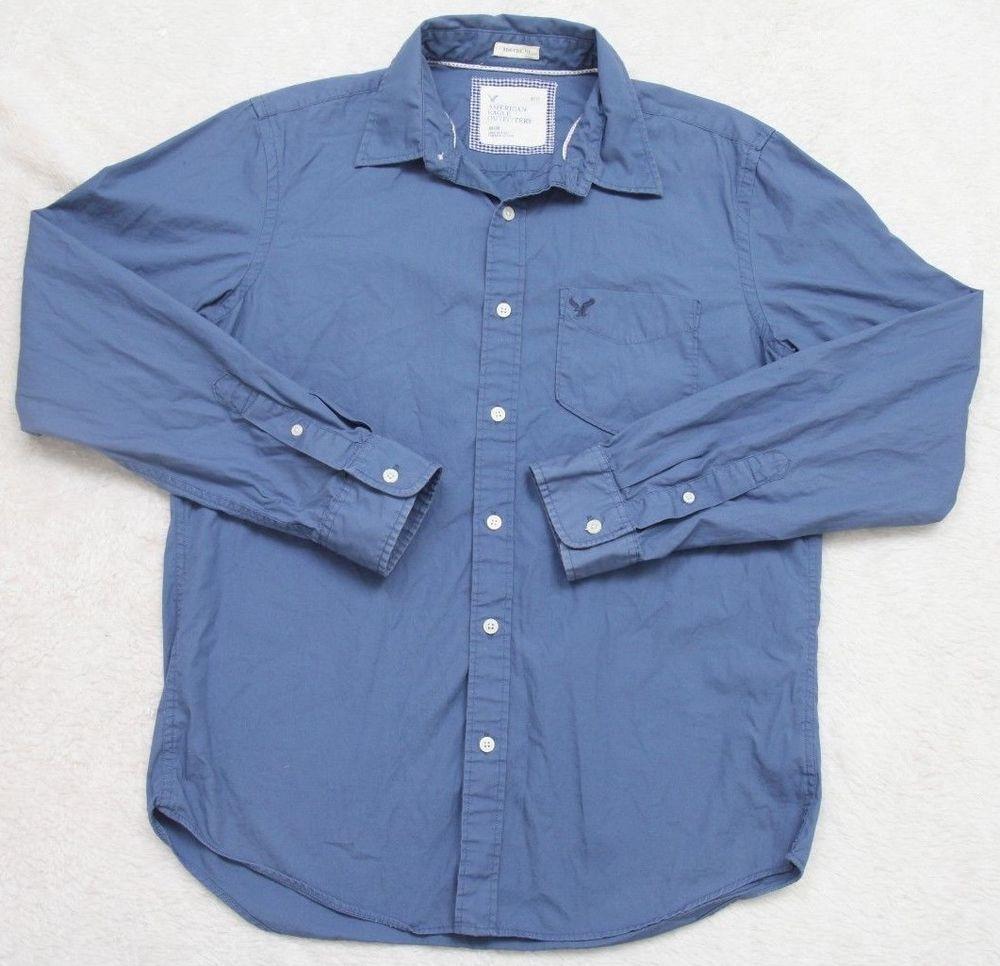 American Eagle Blue Dress Shirt Medium Long Sleeve Solid Athletic