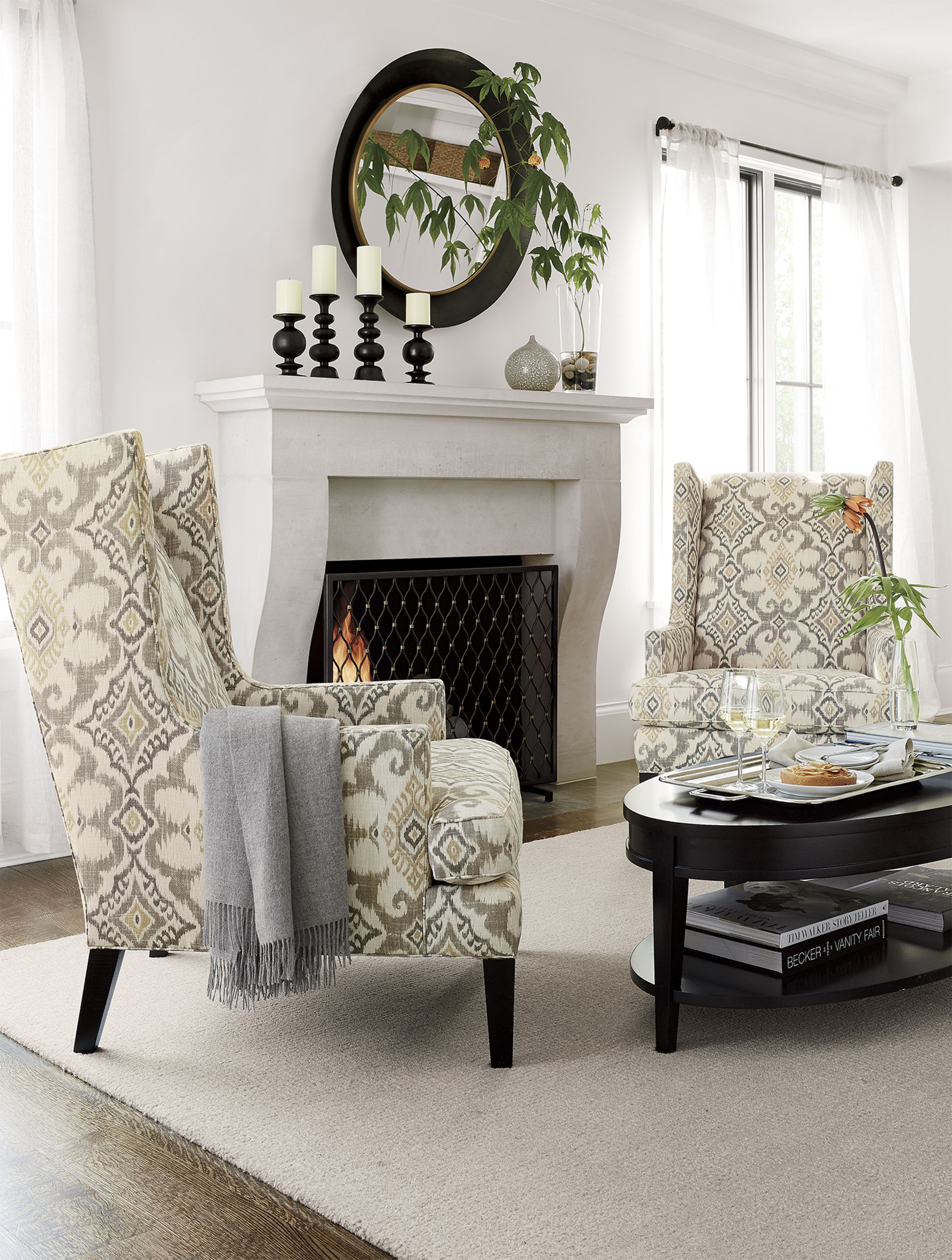 Luxe high wing back chair living rooms - High back wing chairs for living room ...