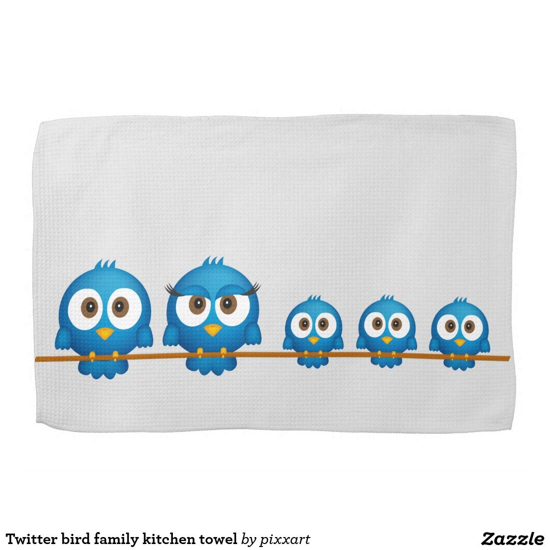 Twitter bird family kitchen towel