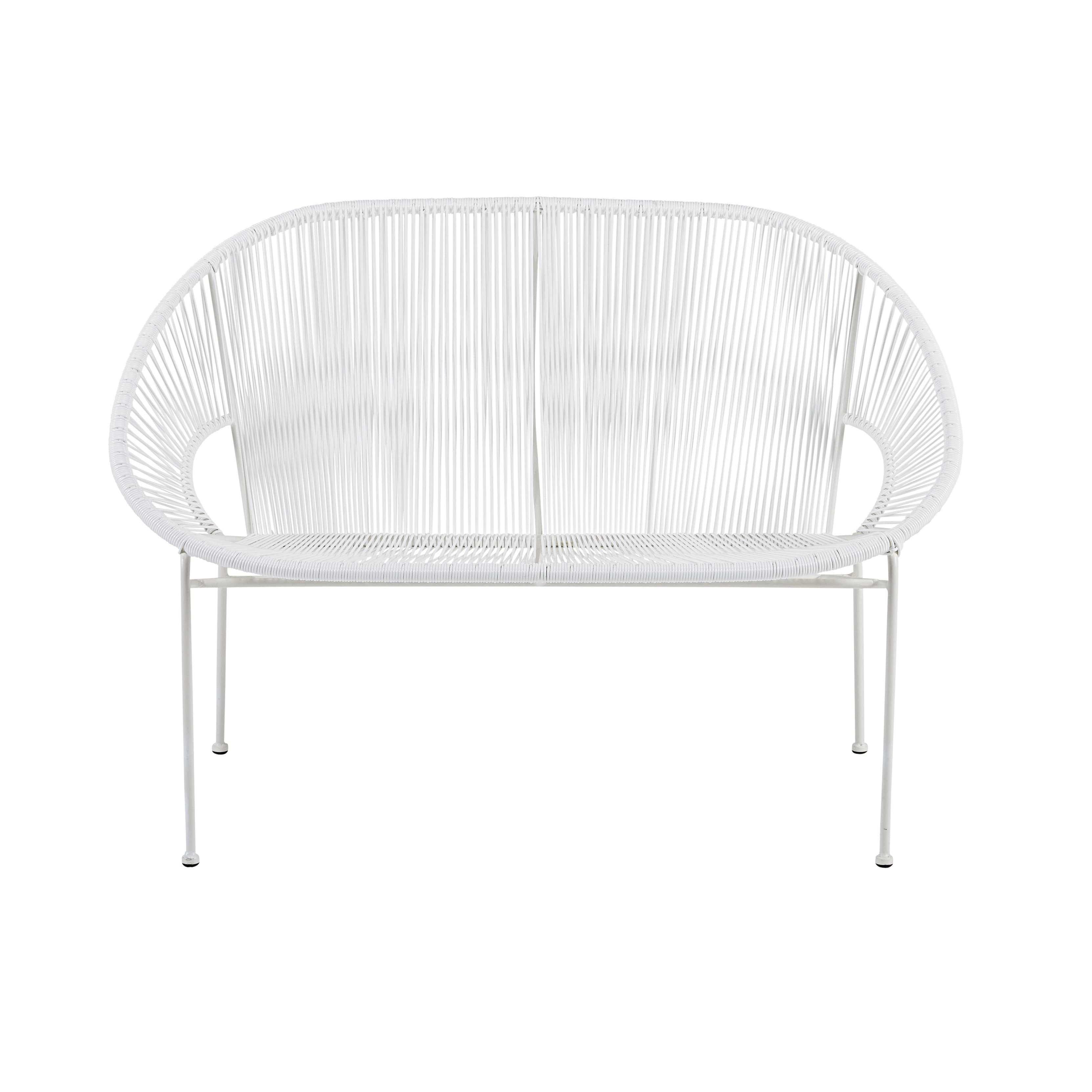 Stapelbare Gartenbank 2/3-Sitzer aus Kunstharz-Gewebe und weißem ...