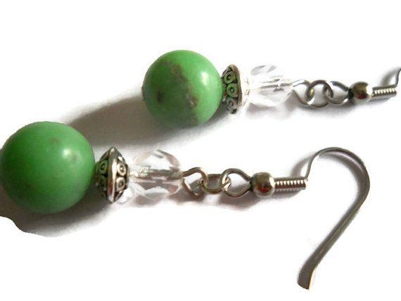 Mint Green Earrings Green Stone Earrings Mayan by chicagolandia, $12.00