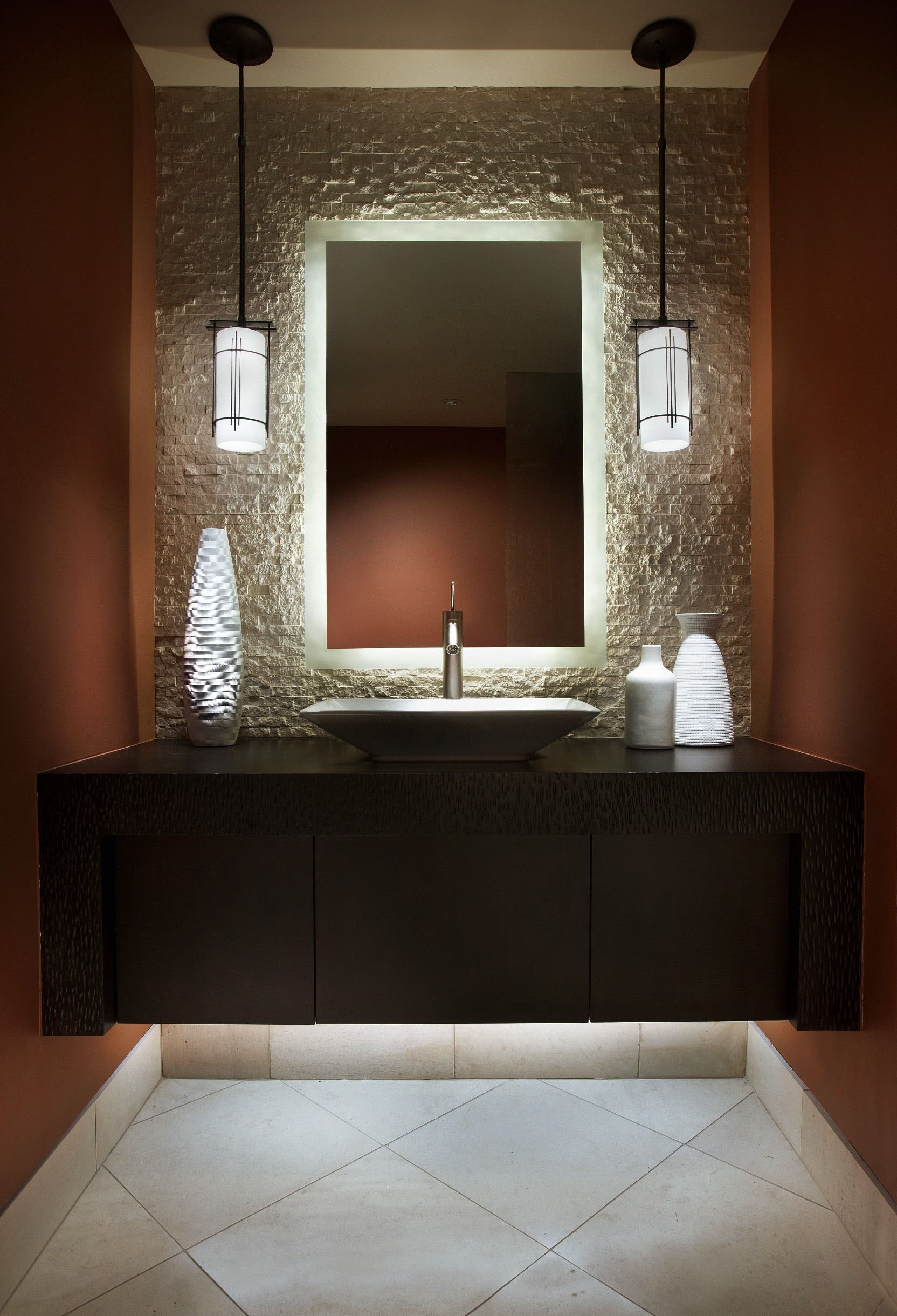 love the soft glow behind the mirror modern powder rooms on modern functional bathroom design id=18543