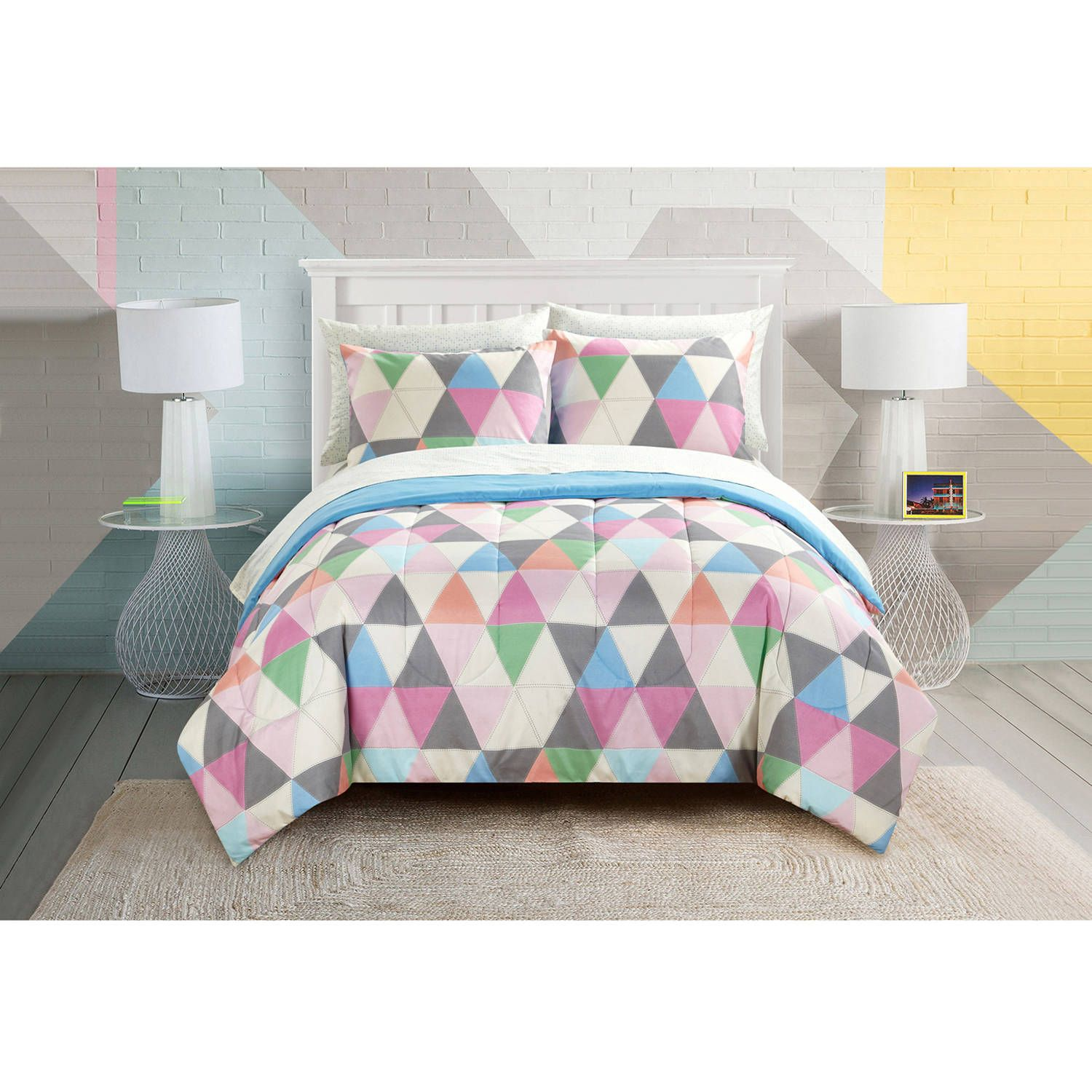 Your Zone Color Triangle Bed In A Bag Bedding Set Walmart Com