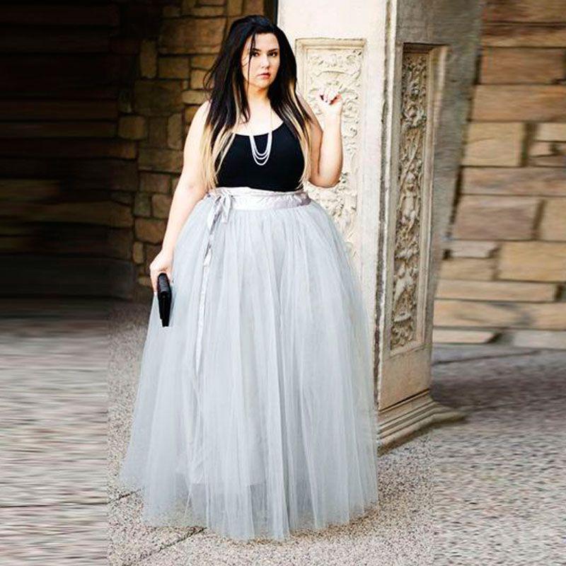 112e69f01ca222 2016 Lato Style Maxi Tulle Plus Rozmiar Kobiety Wysoka Talia Piętro Długość  faldas Spódnice Dla Puszystych(China (Mainland))