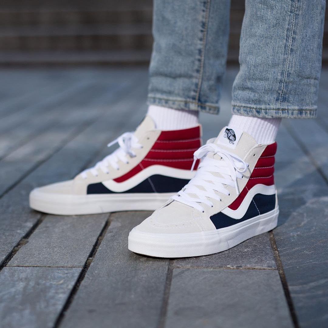 Vans Sk8 Hi Reissue White Red Dress Blues Mens Vans Shoes Vans Shoes Sneakers Fashion